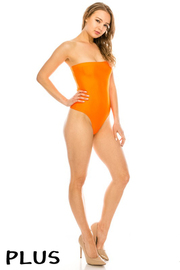 Plus Size Poolside tube bodysuit.
