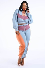 Plus Size Color blocked jogger set.