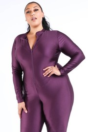 Plus Size Zip up long sleeve catsuit.