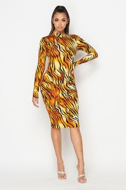 Animal printed mock neck midi dress.