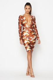 Plunging V neck long sleeve nylon camo dress.