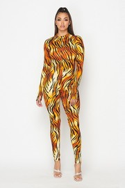Tiger printed mock neck jumpsuit.