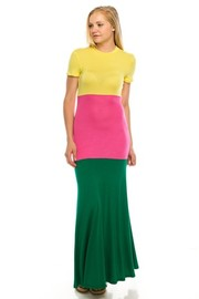 Color block rayon maxi dress.