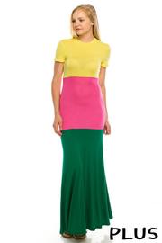 Plus size Color block rayon maxi dress.