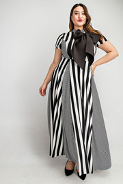 Plus Size Short slv mock neck maxi dress with bow.
