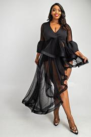 Plus Size Surplice cascade ruffle dress.