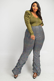 Plus Size Flare Pants with ruched side botton.