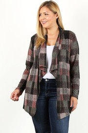 Plus Size Plaid cardigan with draped neckline.