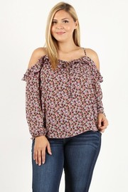 Plus Size Floral print ruffle cold shoulder top.