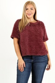 Plus Size Faux fur short sleeve top.