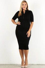Plus Size Solid rib bodycon midi dress.