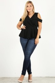Plus Size Cold shoulder surplice peplum top.