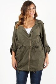 Plus Size Solid, light weight long body jacket in a loose fit with a draped neck.