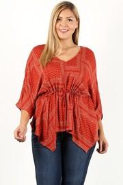 Plus Size Paisley print kimono sleeves top.
