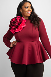 Plus Size Long sleeve peplum top with color block flower.