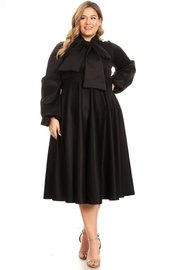 Plus Size Puff sleeve solid bow tie midi dress.