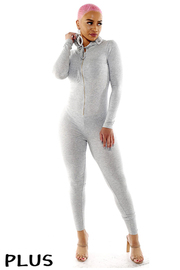 Plus Size Long sleeve hoodie front zip jumpsuit.