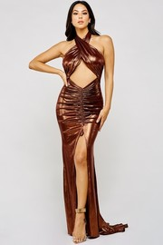 Metallic copper maxi dress with cross front neck ties at the back.