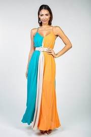 Color block maxi dress with belt.