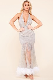 Silver glitter pattern mermaid dress with halter neck with back button closure.