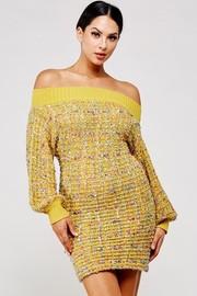 Off shoulder dress sparks of metallic.