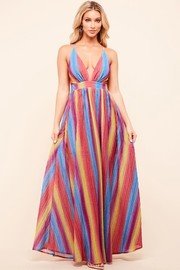 Metalic rainbow maxi dress.