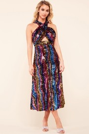 Multi color sequin in a wavy pattern midi dress.