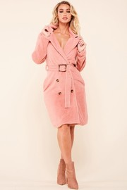 Pink soft and plush faux fur notch lapel coat with double breasted front with a removable belt.