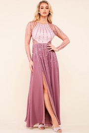 Sequin and rhinestone embellished illusion long dress