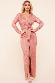 Rose allover sequin long dress.