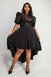 Plus Size Polkadot mesh short sleeve with solid bottom dress.