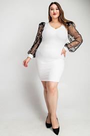 Plus Size Pola dot organza sleeve v-neck dress.