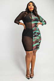 Plus Size 3/4 Sleeve half & half color block dress.
