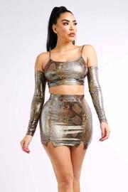 Hologram snake mini skirt set.