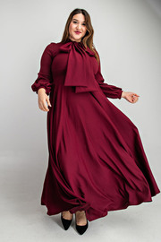 Plus Size Long puffed out sleeves with bow long flowy dress.