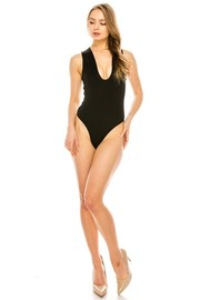 Solid Yoga bodysuit with crotch snap closure.