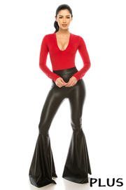 Plus Size High waist flair faux leather pants.