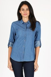 Basic button down cambray medium wash denim shirt.