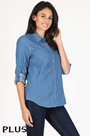 Plus Size Basic button down cambray medium wash denim shirt.