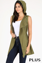 Plus Size Sleeveless Brushed safari vest.