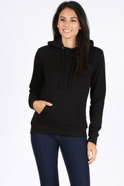 Basic plain solid fleece pullover hoodie sweatshirt.
