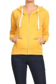 Basic plain solid fleece full zip hoodie sweatshirt.