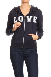 Fleece full zip basic hoodie with love flocking.