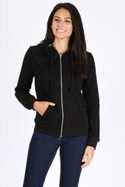 Basic plain solid fleece full zip hoodie sweatshirt.