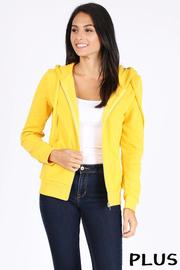 Plus Size Basic plain solid fleece full zip hoodie sweatshirt.