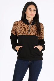 Leopard print color block trim half zip pullover.