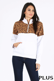 Plus Size Leopard print color block trim half zip pullover.