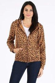 Leopard print full zip fleece hoodie.