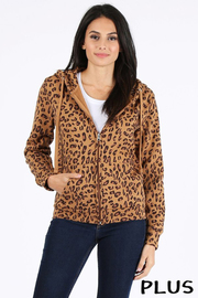Plus Size Leopard print full zip fleece hoodie.