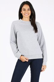 Basic plain solid fleece crewneck sweatshirt.
